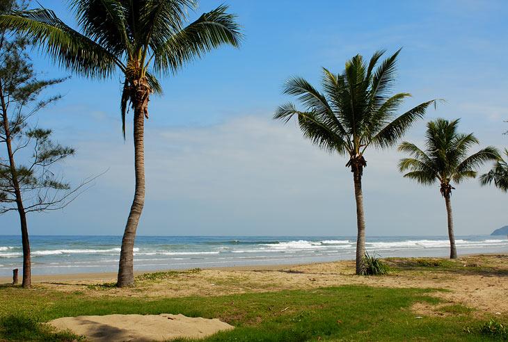 Пару слов о морском побережье. Вода мокрая, песок белый, пальмы зеленые.