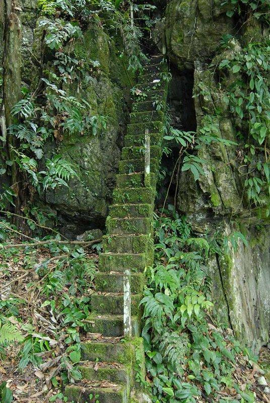 Если есть горы, значит в них есть и пещеры. Одну из пещер угораздило отрастить сосульку в форме Будды или чего-то подобного. Страждущие чуда человеки мигом соорудили к этому месту лестницы, чтобы находящийся в нескольких десятках метров на отвесной скале вход в пещеру, стал доступен любому желающему.