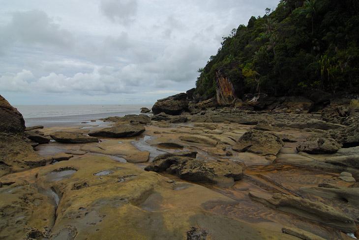 Цветные соки деревьев причудливым образом проточили камни на берегу.