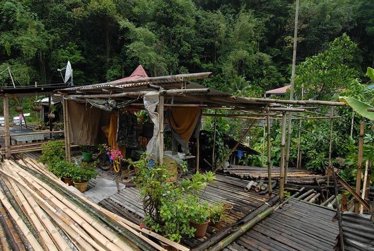 На длинных шестах сооружен бамбуковый настил, в обе стороны отходят отдельные домики-квартиры. Тут же пасутся куры, тусуются жители и кипит всяческая деревенская жизнь. И все это по сути в одном гнездодоме.