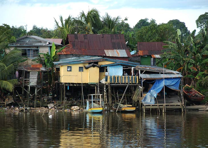 Мангровая лагуна в Сараваке имела просто грандиозные размеры. Каяком тут не отделаешься, поэтому необходимо нанять лодку в рыбацкой деревне.