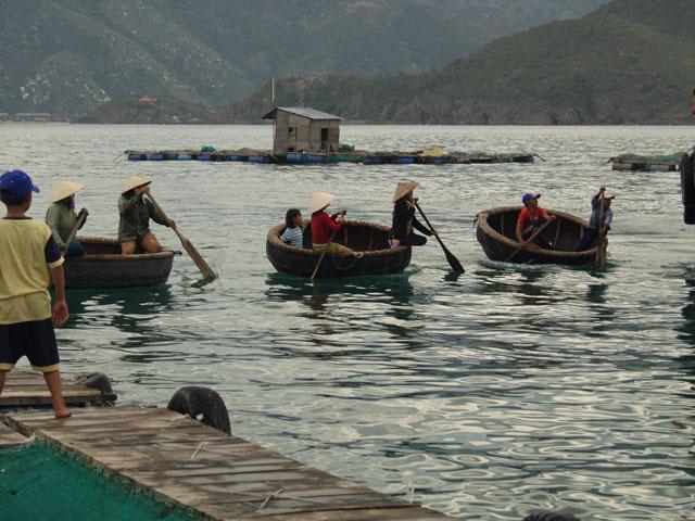 Абордажная команда на плавучих тазиках. На заднем плане видна структурная единица рыбацкой деревни. Хижина на бамбуковом плоту.