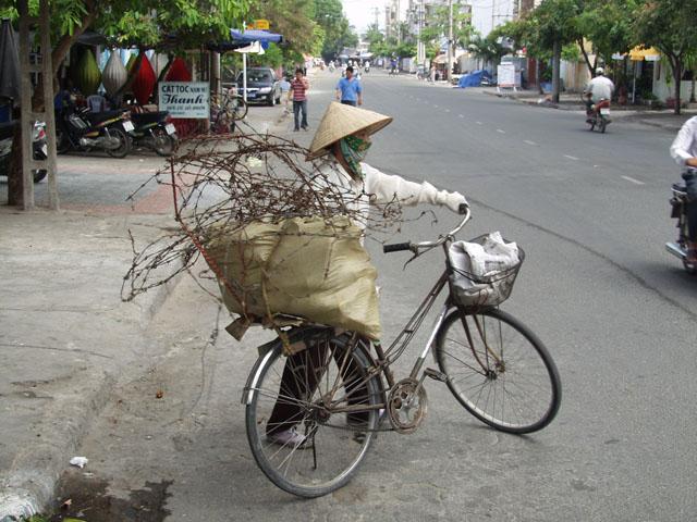 На велосипедах перевозят самые неожиданные грузы.
