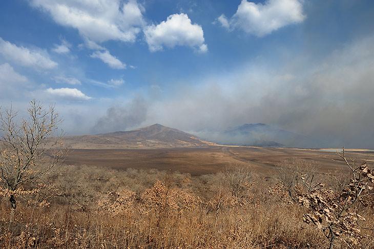 Подобно извергающимся вулканам, горящие сопки отравляют атмосферу и оживляют пейзаж.