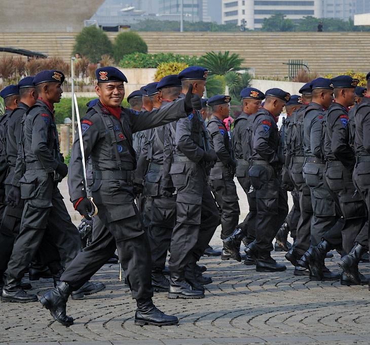 Даже в армейском строю индонезийцы не в состоянии сделать серьезную физиономию, чего и вам желаю.