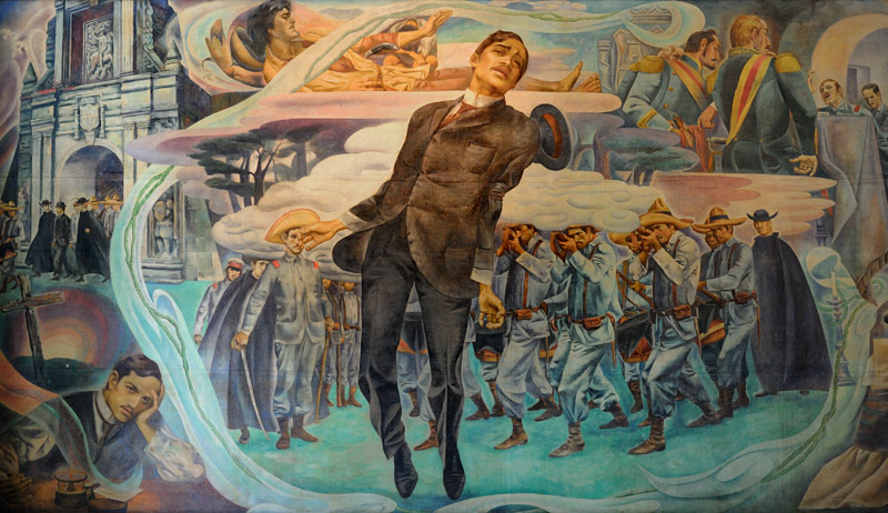 В отличие от других цивилизованных и не очень народов, в качестве главного национального героя у филлипинцев почитается не какой-нибудь беспощадный полководец, кровавый правитель или религиозный маньяк, а некий Хосе Рисаль — художник,               литератор и ученый в одном лице. Прославился просветительством, борьбой за демократию и пацифизмом. За что и был казнен в 1896 году. Забавно, что в прославляющих Рисаля живописных полотнах и музейных экспозициях особенно смакуется               момент смерти героя.