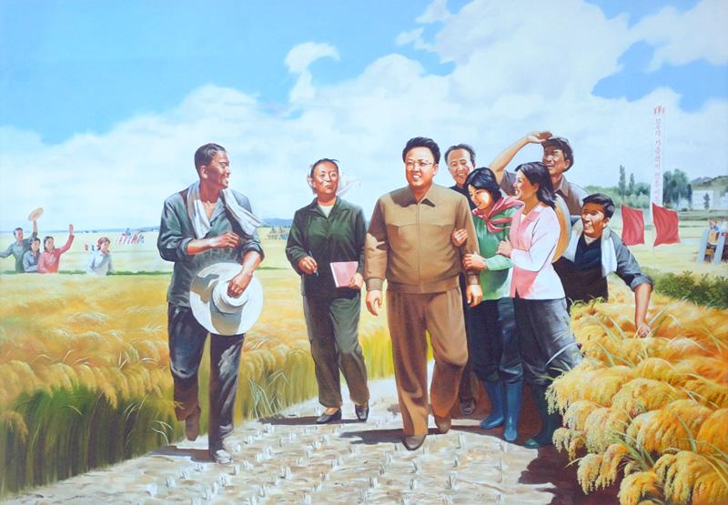 Дополню портреты живых людей произведениями северокорейского соцреализма, в изобилии украшающими самые неожиданные места страны.