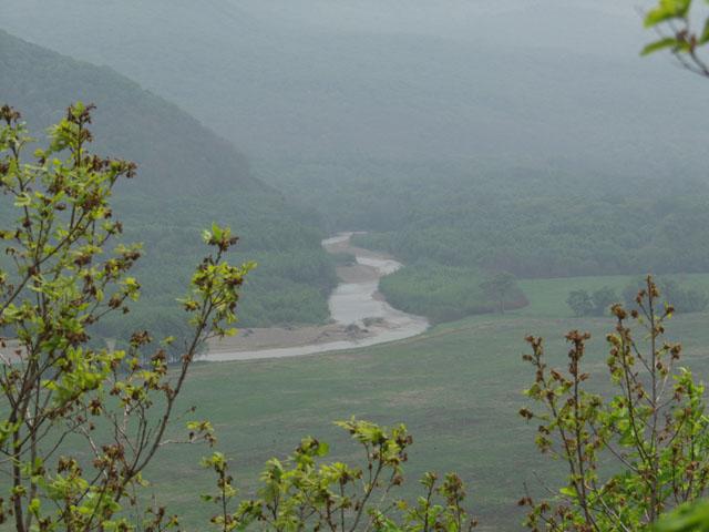 Мутноватый вид на реку Арсеньевку. Днем над долиной реки стоит довольно плотная дымка. Жара.