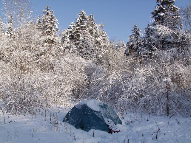 Петров сладко хрючит в палатке.
