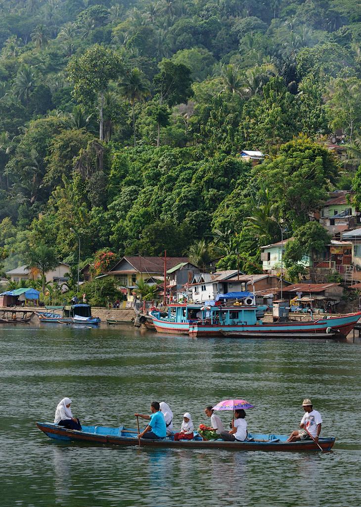 Школьников сменяют процессии возвращающихся с базара горожан. Сокращая путь, важно восседают в лодках тетки с авоськами,               ощетинившись пучками зелени и хвостами свежевыловленной рыбы.